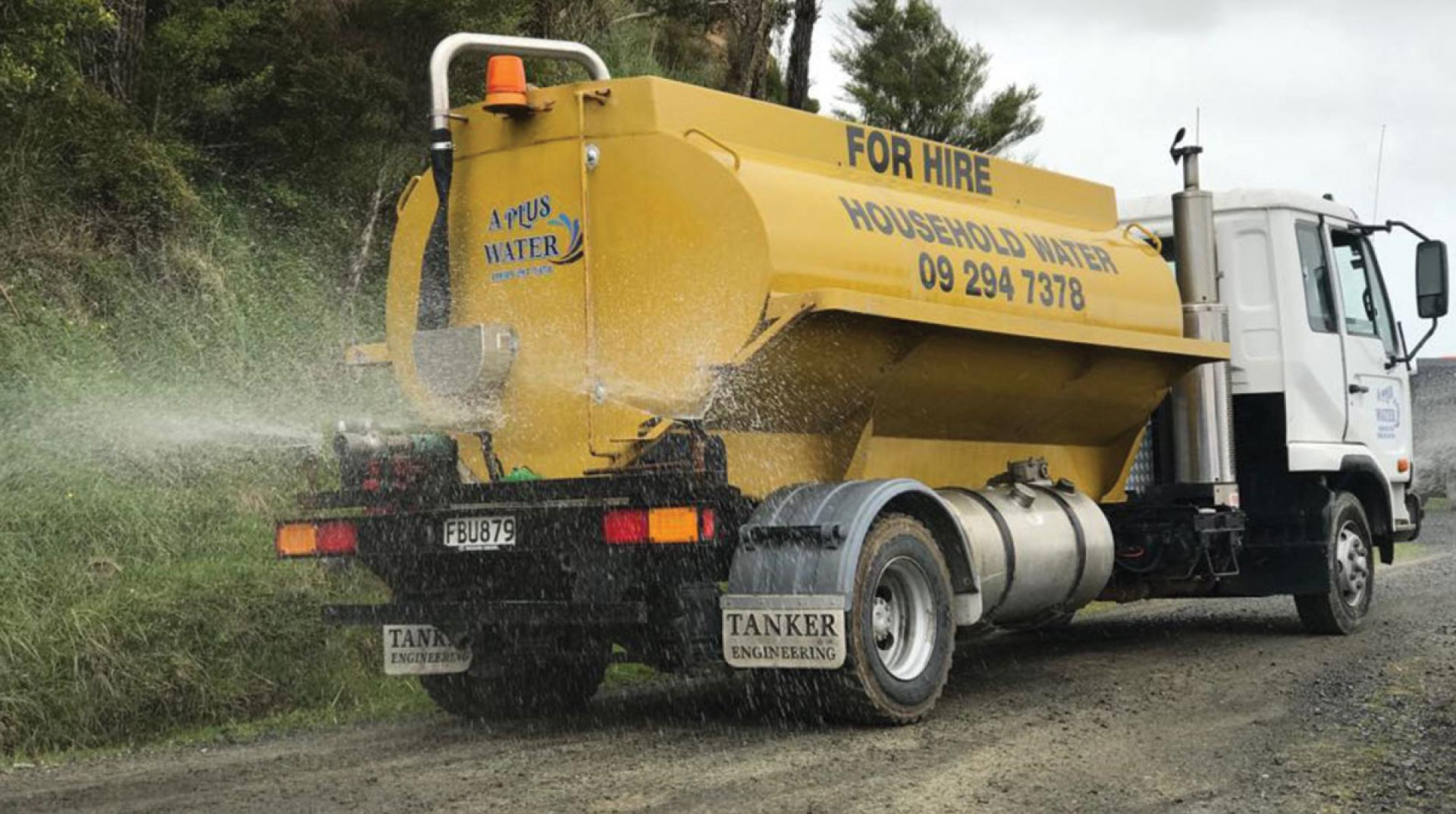A Plus Water truck for houshold water.